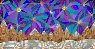 Ejemplo del vitral con paisaje de la montaña en el fondo del cielo estrellado stock de ilustración