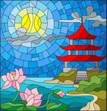 Ejemplo del vitral con paisaje oriental, la iglesia del este con el tejado rojo contra el cielo nublado y sol, un río Imágenes de archivo libres de regalías