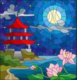 Ejemplo del vitral con paisaje oriental, la iglesia del este con el tejado rojo contra el cielo nublado y sol, un río Fotografía de archivo libre de regalías