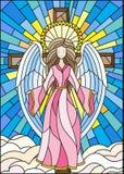 Ejemplo del vitral con un ángel en el fondo de la cruz, del cielo y de las nubes ilustración del vector