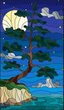 Ejemplo del vitral con un árbol de pino solitario que se coloca en el banco en el fondo del cielo, de la luna y del agua estrella libre illustration
