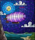 Ejemplo del vitral con un dirigible del arco iris que vuela sobre un llano con un lago en un fondo de montañas, del cielo estrell ilustración del vector