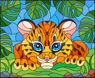 Ejemplo del vitral con un guepardo del beb? en la caza, contra las hojas de plantas tropicales ilustración del vector