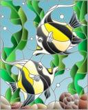 Ejemplo del vitral con un par de ídolos moros en el fondo del agua y de las algas Foto de archivo libre de regalías