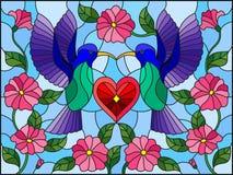Ejemplo del vitral con un par de colibríes y un corazón contra el cielo y las flores stock de ilustración