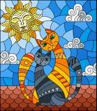 Ejemplo del vitral con un par de gatos que se sientan en el tejado contra el cielo nublado y el sol stock de ilustración