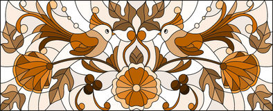 Ejemplo del vitral con un par de pájaros, de flores y de modelos abstractos, tono marrón, imagen horizontal ilustración del vector