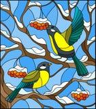 Ejemplo del vitral con un par de pájaros de los paros carboneros en las ramas ilustración del vector