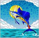 Ejemplo del vitral con un velero de los pescados en el fondo del agua, de la nube, del cielo y del sol libre illustration