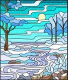 Ejemplo del vitral con una cala congelada en el fondo del cielo, de los árboles nevosos y de los campos libre illustration