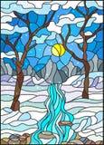 Ejemplo del vitral con una cala congelada en el fondo del cielo, de las montañas nevosas, de los árboles y de los campos libre illustration