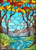 Ejemplo del vitral con una cala rocosa en el fondo del cielo, de las montañas, de los árboles y de los campos soleados, paisaje d ilustración del vector
