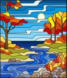 Ejemplo del vitral con una cala rocosa en el fondo del cielo, del lago, de los árboles y de los campos soleados, paisaje del otoñ libre illustration