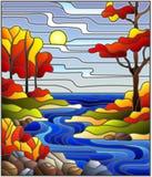 Ejemplo del vitral con una cala rocosa en el fondo del cielo, del lago, de los árboles y de los campos soleados, paisaje del otoñ ilustración del vector