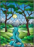 Ejemplo del vitral con una cala rocosa en el fondo del cielo, de las montañas, de los árboles y de los campos soleados ilustración del vector