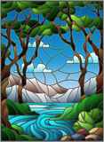Ejemplo del vitral con una cala rocosa en el fondo del cielo, de las montañas, de los árboles y de los campos soleados libre illustration