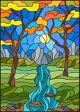 Ejemplo del vitral con una cala rocosa en el fondo del cielo, de las montañas, de los árboles y de los campos soleados, paisaje d stock de ilustración