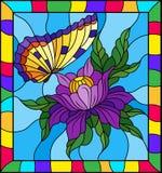 Ejemplo del vitral con una flor púrpura y una mariposa amarilla brillante en un fondo azul en un marco brillante Foto de archivo libre de regalías