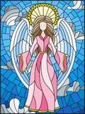 Ejemplo del vitral con una muchacha de ángeles en el fondo del cielo nublado ilustración del vector