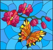 Ejemplo del vitral con una rama de la orquídea rosada y de la mariposa brillante anaranjada Foto de archivo libre de regalías