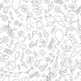 Ejemplo del vitral en el tema de la niñez, de la diversión y de la amistad, iconos a mano simples, contornos oscuros en el backgr libre illustration