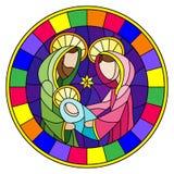 Ejemplo del vitral en tema bíblico, bebé de Jesús con Maria y José, figuras abstractas en el fondo azul, imagen redonda i stock de ilustración