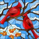 Ejemplo del vitral, pares de cardenales de los pájaros que se sientan en una rama de la ceniza de montaña en un fondo del cielo y stock de ilustración