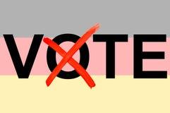 Ejemplo del voto de la palabra con la bandera alemana en el fondo como símbolo de elecciones políticas alemanas en la representac stock de ilustración