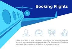 Ejemplo del vuelo con los iconos stock de ilustración
