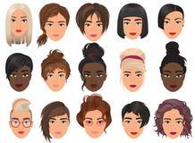 Ejemplo detallado realista del vector del sistema del avatar de la mujer Retrato femenino de las chicas jóvenes hermosas con dive stock de ilustración