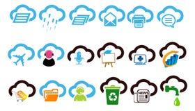 Ejemplo determinado computacional del icono de la nube stock de ilustración