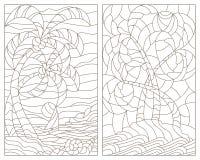 Ejemplo determinado del contorno con los vitrales de paisajes tropicales, isla con las palmeras contra el cielo, océano y sol ilustración del vector