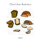 Ejemplo determinado del dibujo de la mano del pan Fotos de archivo libres de regalías