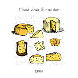 Ejemplo determinado del dibujo de la mano del queso Fotografía de archivo libre de regalías