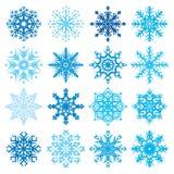 Ejemplo determinado del vector del diverso del copo de nieve invierno decorativo de las formas Fotografía de archivo libre de regalías