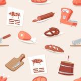Ejemplo determinado del vector del vintage de la carne de Shop Seamless Pattern del carnicero de la historieta del fondo del icon Imagen de archivo