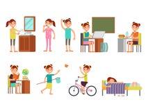 Ejemplo diario del vector del horario del niño bonito de la muchacha ilustración del vector