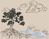Ejemplo dibujado mano asiática de la tinta Imagen de archivo libre de regalías