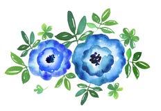 Ejemplo dibujado mano azul simple de la acuarela de la flor Imagen de archivo