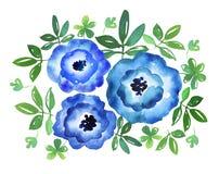 Ejemplo dibujado mano azul simple de la acuarela de la flor Imagenes de archivo