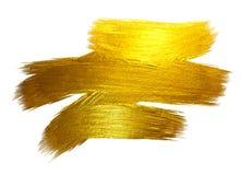 Ejemplo dibujado mano brillante de la trama de la mancha de la pintura del movimiento de la hoja de oro Ejemplo blanco Fotografía de archivo libre de regalías