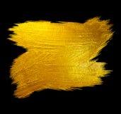 Ejemplo dibujado mano brillante de la trama de la mancha de la pintura del movimiento de la hoja de oro Ejemplo negro Fotos de archivo