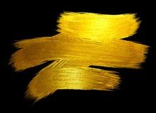 Ejemplo dibujado mano brillante de la trama de la mancha de la pintura del movimiento de la hoja de oro Ejemplo negro Foto de archivo