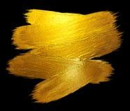 Ejemplo dibujado mano brillante de la trama de la mancha de la pintura del movimiento de la hoja de oro Ejemplo negro Foto de archivo libre de regalías
