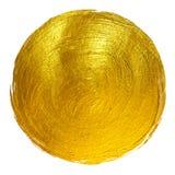 Ejemplo dibujado mano brillante redonda de la trama de la mancha de la pintura de la hoja de oro Imagen de archivo