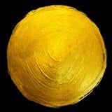 Ejemplo dibujado mano brillante redonda de la trama de la mancha de la pintura de la hoja de oro Imagen de archivo libre de regalías