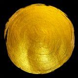 Ejemplo dibujado mano brillante redonda de la trama de la mancha de la pintura de la hoja de oro Fotografía de archivo