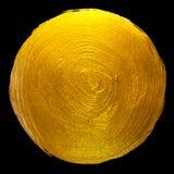 Ejemplo dibujado mano brillante redonda de la trama de la mancha de la pintura de la hoja de oro Foto de archivo