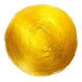 Ejemplo dibujado mano brillante redonda de la trama de la mancha de la pintura de la hoja de oro Imagenes de archivo