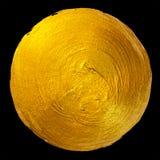 Ejemplo dibujado mano brillante redonda de la trama de la mancha de la pintura de la hoja de oro Fotos de archivo